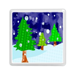 Christmas Trees And Snowy Landscape Memory Card Reader (square)