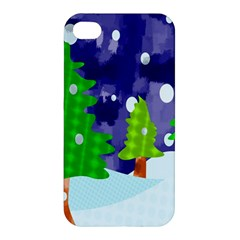 Christmas Trees And Snowy Landscape Apple iPhone 4/4S Hardshell Case