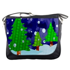 Christmas Trees And Snowy Landscape Messenger Bags