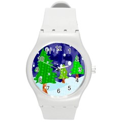 Christmas Trees And Snowy Landscape Round Plastic Sport Watch (M)