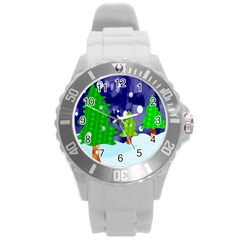 Christmas Trees And Snowy Landscape Round Plastic Sport Watch (L)