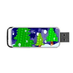 Christmas Trees And Snowy Landscape Portable USB Flash (Two Sides)