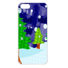 Christmas Trees And Snowy Landscape Apple iPhone 5 Seamless Case (White)