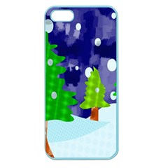 Christmas Trees And Snowy Landscape Apple Seamless Iphone 5 Case (color)
