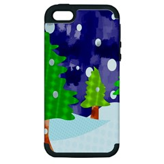 Christmas Trees And Snowy Landscape Apple Iphone 5 Hardshell Case (pc+silicone)