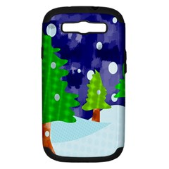 Christmas Trees And Snowy Landscape Samsung Galaxy S III Hardshell Case (PC+Silicone)