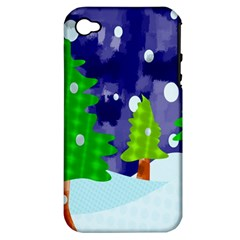 Christmas Trees And Snowy Landscape Apple iPhone 4/4S Hardshell Case (PC+Silicone)