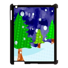 Christmas Trees And Snowy Landscape Apple iPad 3/4 Case (Black)