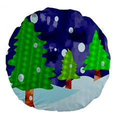 Christmas Trees And Snowy Landscape Large 18  Premium Round Cushions