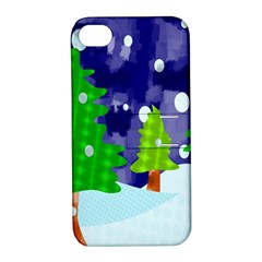 Christmas Trees And Snowy Landscape Apple iPhone 4/4S Hardshell Case with Stand