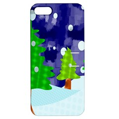 Christmas Trees And Snowy Landscape Apple iPhone 5 Hardshell Case with Stand