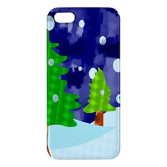 Christmas Trees And Snowy Landscape Apple iPhone 5 Premium Hardshell Case