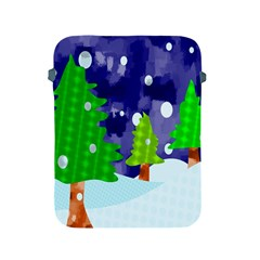 Christmas Trees And Snowy Landscape Apple Ipad 2/3/4 Protective Soft Cases