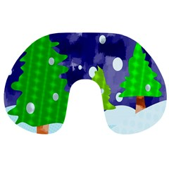 Christmas Trees And Snowy Landscape Travel Neck Pillows