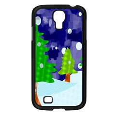 Christmas Trees And Snowy Landscape Samsung Galaxy S4 I9500/ I9505 Case (Black)