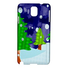 Christmas Trees And Snowy Landscape Samsung Galaxy Note 3 N9005 Hardshell Case