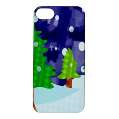 Christmas Trees And Snowy Landscape Apple iPhone 5S/ SE Hardshell Case