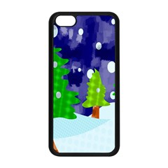 Christmas Trees And Snowy Landscape Apple iPhone 5C Seamless Case (Black)