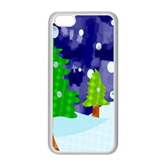 Christmas Trees And Snowy Landscape Apple iPhone 5C Seamless Case (White)