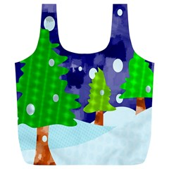 Christmas Trees And Snowy Landscape Full Print Recycle Bags (L)