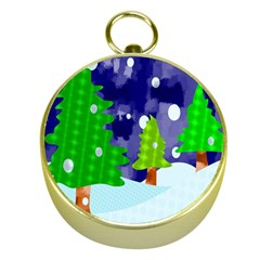 Christmas Trees And Snowy Landscape Gold Compasses