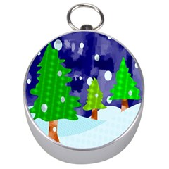 Christmas Trees And Snowy Landscape Silver Compasses