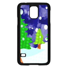 Christmas Trees And Snowy Landscape Samsung Galaxy S5 Case (Black)