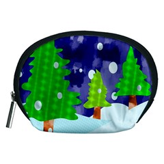 Christmas Trees And Snowy Landscape Accessory Pouches (Medium)