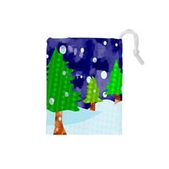 Christmas Trees And Snowy Landscape Drawstring Pouches (Small)