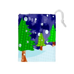 Christmas Trees And Snowy Landscape Drawstring Pouches (Medium)