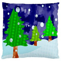 Christmas Trees And Snowy Landscape Large Flano Cushion Case (One Side)
