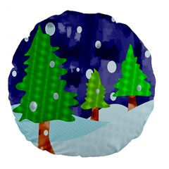 Christmas Trees And Snowy Landscape Large 18  Premium Flano Round Cushions