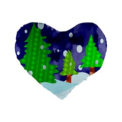 Christmas Trees And Snowy Landscape Standard 16  Premium Flano Heart Shape Cushions