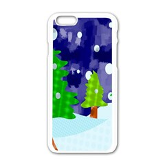 Christmas Trees And Snowy Landscape Apple Iphone 6/6s White Enamel Case