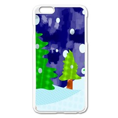 Christmas Trees And Snowy Landscape Apple iPhone 6 Plus/6S Plus Enamel White Case