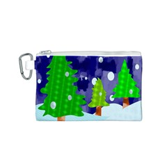 Christmas Trees And Snowy Landscape Canvas Cosmetic Bag (S)