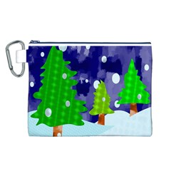 Christmas Trees And Snowy Landscape Canvas Cosmetic Bag (L)