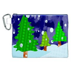 Christmas Trees And Snowy Landscape Canvas Cosmetic Bag (XXL)