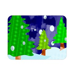 Christmas Trees And Snowy Landscape Double Sided Flano Blanket (mini)