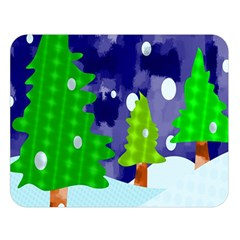 Christmas Trees And Snowy Landscape Double Sided Flano Blanket (large)