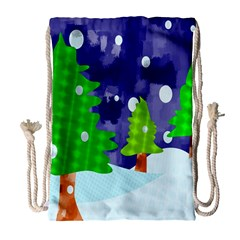 Christmas Trees And Snowy Landscape Drawstring Bag (Large)
