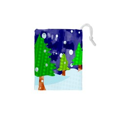 Christmas Trees And Snowy Landscape Drawstring Pouches (XS)