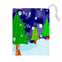 Christmas Trees And Snowy Landscape Drawstring Pouches (Extra Large)