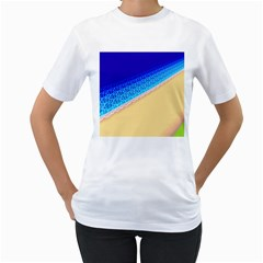 Beach Sea Water Waves Sand Women s T Shirt (white) (two Sided)