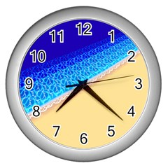 Beach Sea Water Waves Sand Wall Clocks (silver)