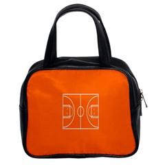 Basketball Court Orange Sport Orange Line Classic Handbags (2 Sides)