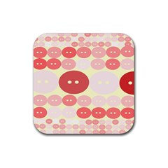 Buttons Pink Red Circle Scrapboo Rubber Square Coaster (4 Pack)