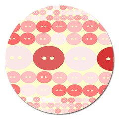 Buttons Pink Red Circle Scrapboo Magnet 5  (round)