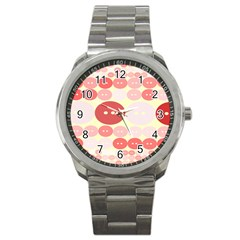 Buttons Pink Red Circle Scrapboo Sport Metal Watch
