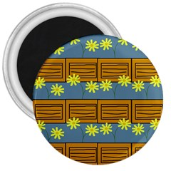 Yellow Flower Floral Sunflower 3  Magnets